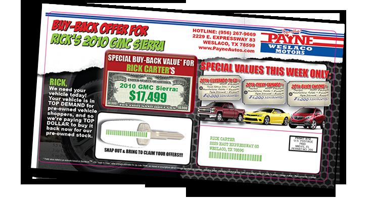 2015-03-27 Payne Weslaco Motors Die-Cut Postcard